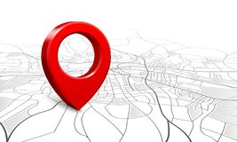 Free Navigation Map. Street 3d Location Pin Locator, Pins Pointer Navigator Maps And Locations Marker Vector Illustration Royalty Free Stock Photography - 138923337