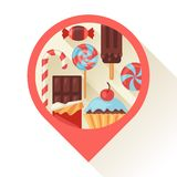 Navigation marker with colorful candy, sweets and Stock Photography