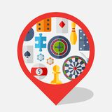 Navigation marker with game icons in flat design Stock Images