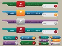 Navigation menu and internet button set vector illustration