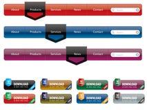 Navigation menu and internet button set royalty free illustration