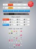 Navigation menus and step panels. A large set of navigation menus, step panels and icons Stock Images
