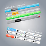 Navigation menus and step panels. A collection of navigation menus and step panels Royalty Free Stock Image