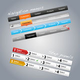 Navigation menus and step panels. A set of navigation menus and step panels Stock Image
