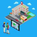 Navigation mobile Couples des touristes recherchant l'hôtel de ville Ville isométrique Vecteur Photographie stock