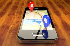 Navigation mobile de GPS image libre de droits