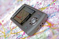 Navigation mobile phone GPS. A mobile with gps built in Stock Image