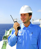 Navigation officer talks by VH Royalty Free Stock Photos