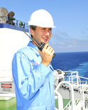 Navigation officer talks by VH Stock Photo