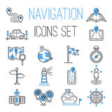 Navigation outline black location pin pictogram direction and search design earth web blue icons global pointer set map Stock Photography