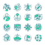 Navigation outline location pin pictogram icons thin sign vector illustration. Stock Photo