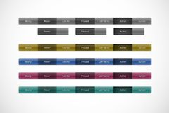 Navigation panel, web buttons. On hover, pressed, active states Royalty Free Stock Images