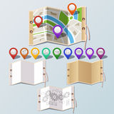 Navigation and paper set Stock Images