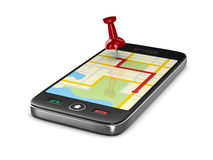 Navigation in phone Stock Photography