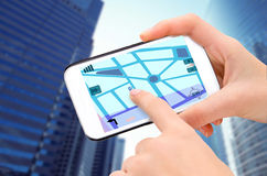 Navigation in phone. Stock Image