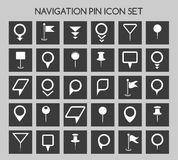 Navigation pin icons. Map location marker and web pointer simple vector elements Royalty Free Stock Images
