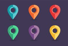Navigation pins collection. Set of map pointers Royalty Free Stock Images