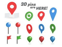 Navigation pins 3d isometric collection. Realistic pins and positioning flags isolated on white background Stock Image
