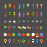 Navigation pins, flags and insignias Royalty Free Stock Photo