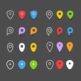 Navigation pins flat collection Royalty Free Stock Images