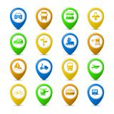 Navigation pins set Stock Photos