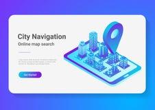 Navigation plate isométrique de téléphone portable de carte de la ville 3D Illustration de Vecteur