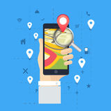 Navigation pointer with smartphone. Royalty Free Stock Images