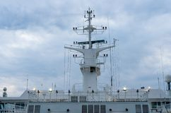 Navigation and radar equipment and antenna. On the mast of cruise ship royalty free stock images