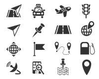 Navigation ransport map icon set Stock Images