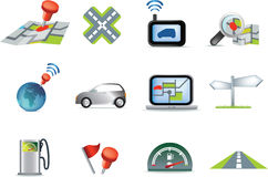 Navigation road travel icon set Royalty Free Stock Photo
