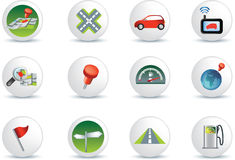 Navigation road travel icon set Stock Image