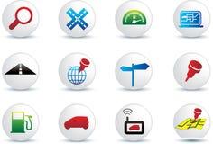 Navigation road travel icon set Royalty Free Stock Photo