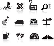 Navigation road travel icon set. Navigation road travel collection of icons silhouette  set Royalty Free Stock Photography