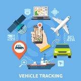 Transport Navigation Round Composition Royalty Free Stock Images