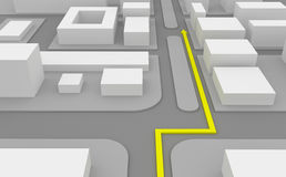 Navigation route on 3d map Royalty Free Stock Photo