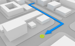 Navigation route on map. Navigation route on 3d map Royalty Free Stock Photo