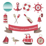 Navigation and sea icons and elements with an anch Stock Photography