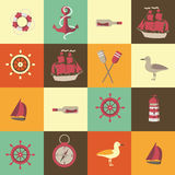 Navigation seamless background with sea elements Royalty Free Stock Photography