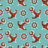 Navigation seamless pattern with an anchor and a s Royalty Free Stock Images