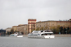 Navigation season opening in Moscow. Cruise ships parade Stock Photography