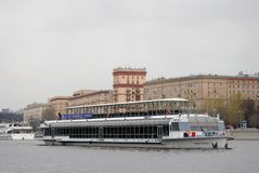 Navigation season opening in Moscow. Cruise ships parade Royalty Free Stock Images