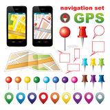 Navigation set with icons GPS. Stock Image