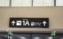 Navigation sign at the airport or train station.  royalty free stock image