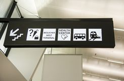 Navigation sign at the airport or train station.  royalty free stock photo