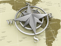 Navigation sign or compass on political map. 3d Royalty Free Stock Photos