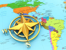 Navigation sign or compass on political map. 3d Royalty Free Stock Images