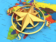 Navigation sign or compass on political map. 3d Stock Photography