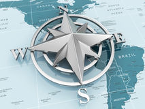Navigation sign or compass on political map. 3d Stock Photos