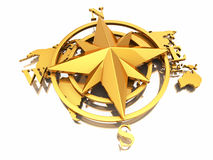 Navigation sign or compass on white background. 3d Stock Images