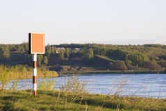 Navigation sign on the river Oka Royalty Free Stock Images